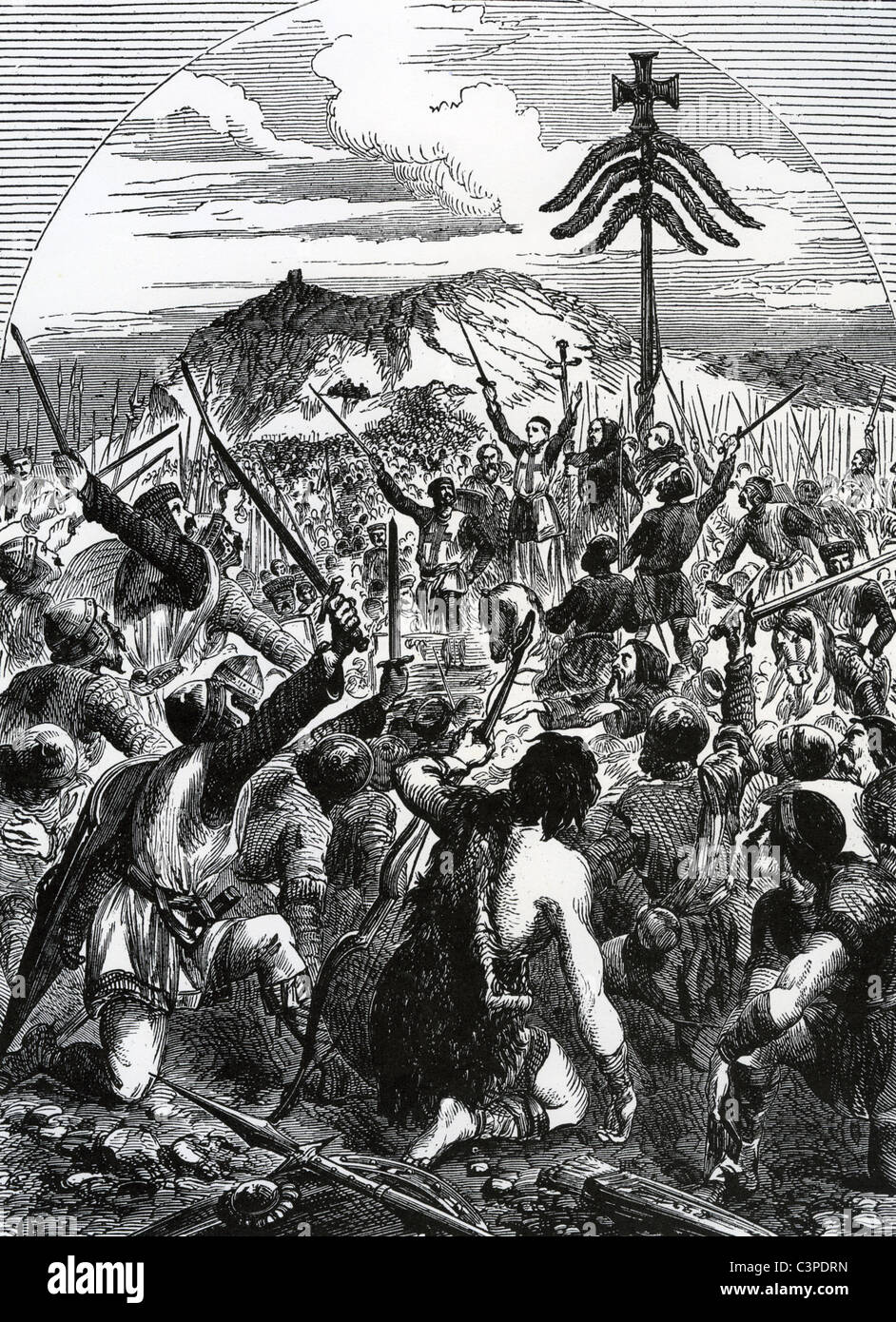 BATTLE OF THE STANDARD 22 August 1138 - William of Aumale celebrates his victory over a Scottish army at Cowton - Stock Image