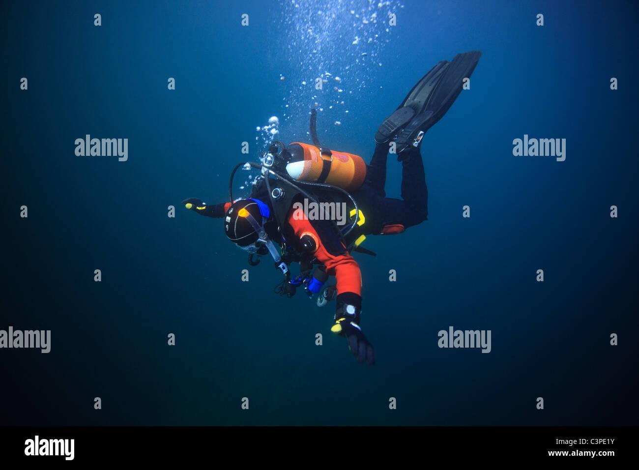 A scuba diver descends into the blue in the sea off St. Abbs, Scotland. - Stock Image