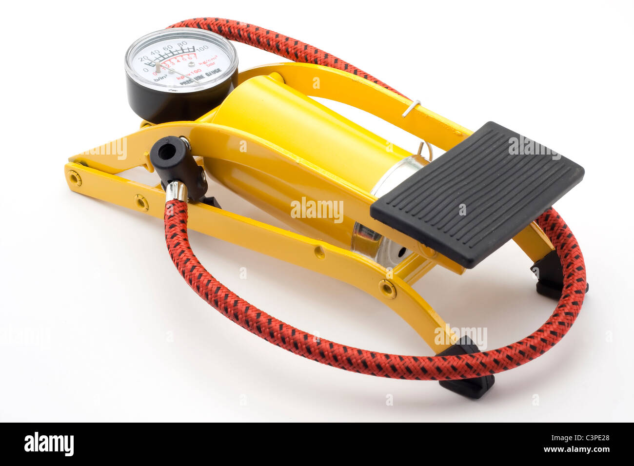 Inflator with pressure gauge on white background - Stock Image