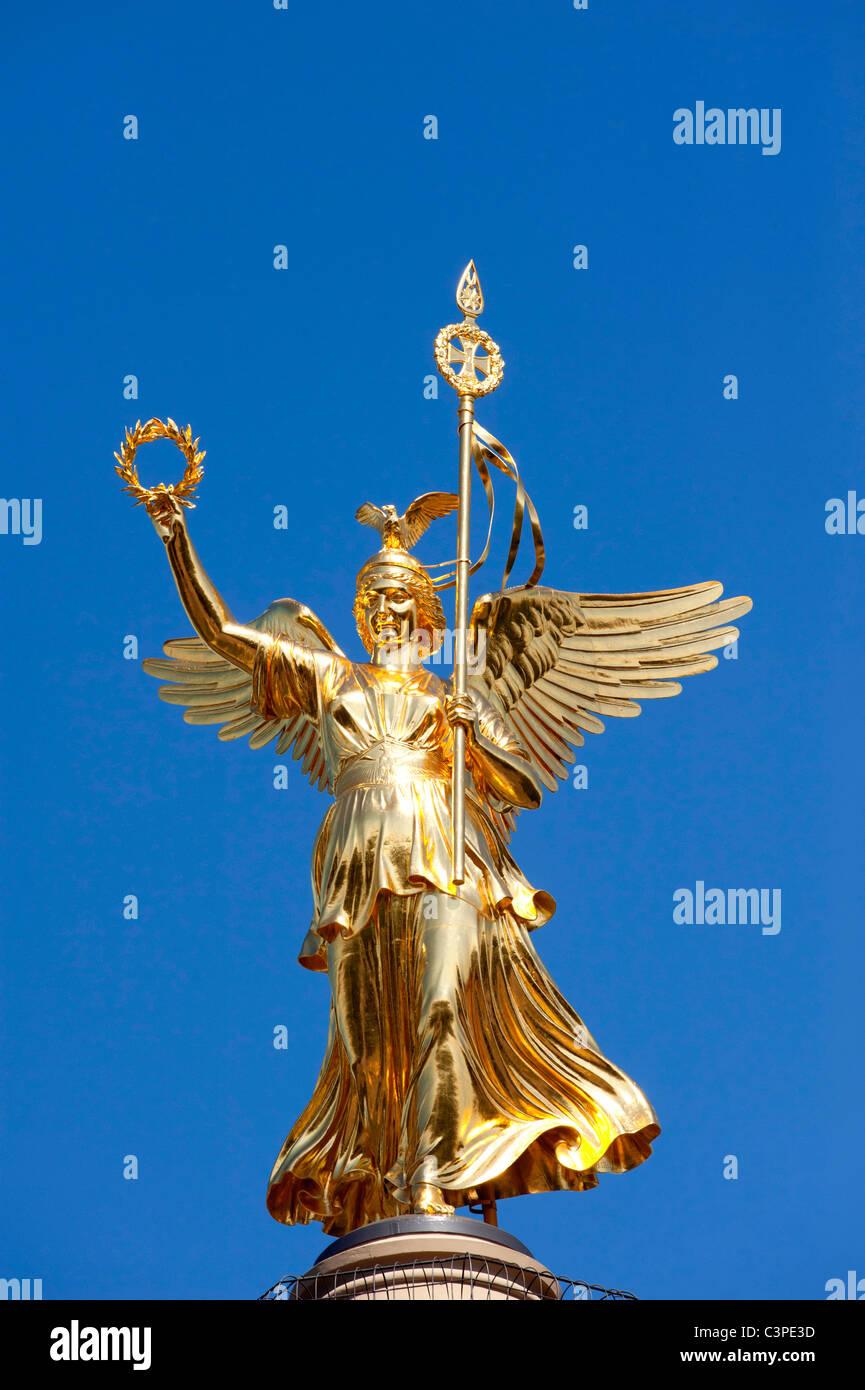 The Siegessaule column or Victory Column in Tiergarten Berlin Germany - Stock Image