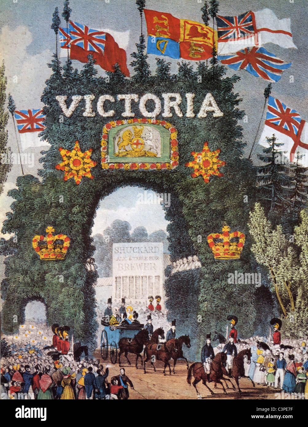 QUEEN VICTORIA triumphal entry to a town in the UK - Stock Image