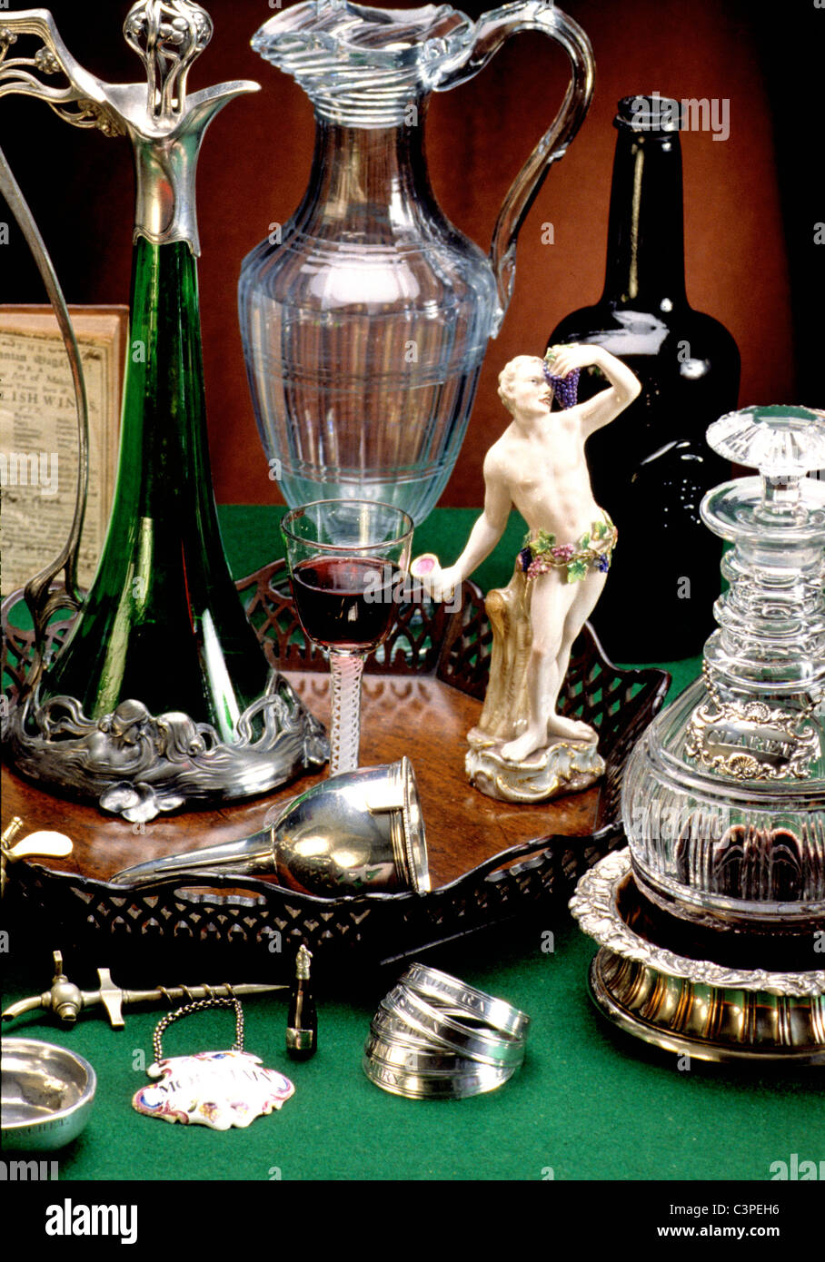 Antiques small collected items associated with the wine trade - Stock Image