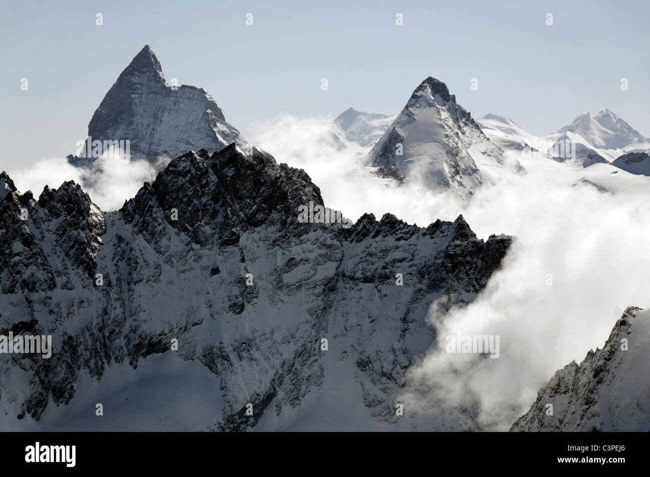 An early morning view on the Haute Route ski tour, Switzerland. Stock Photo