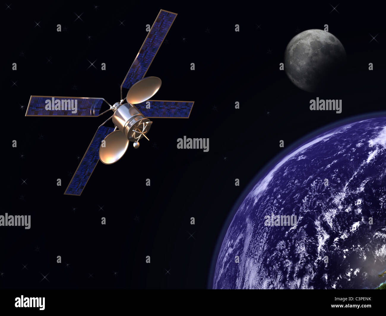 Communication satellite in earth orbit with moon in background - Stock Image