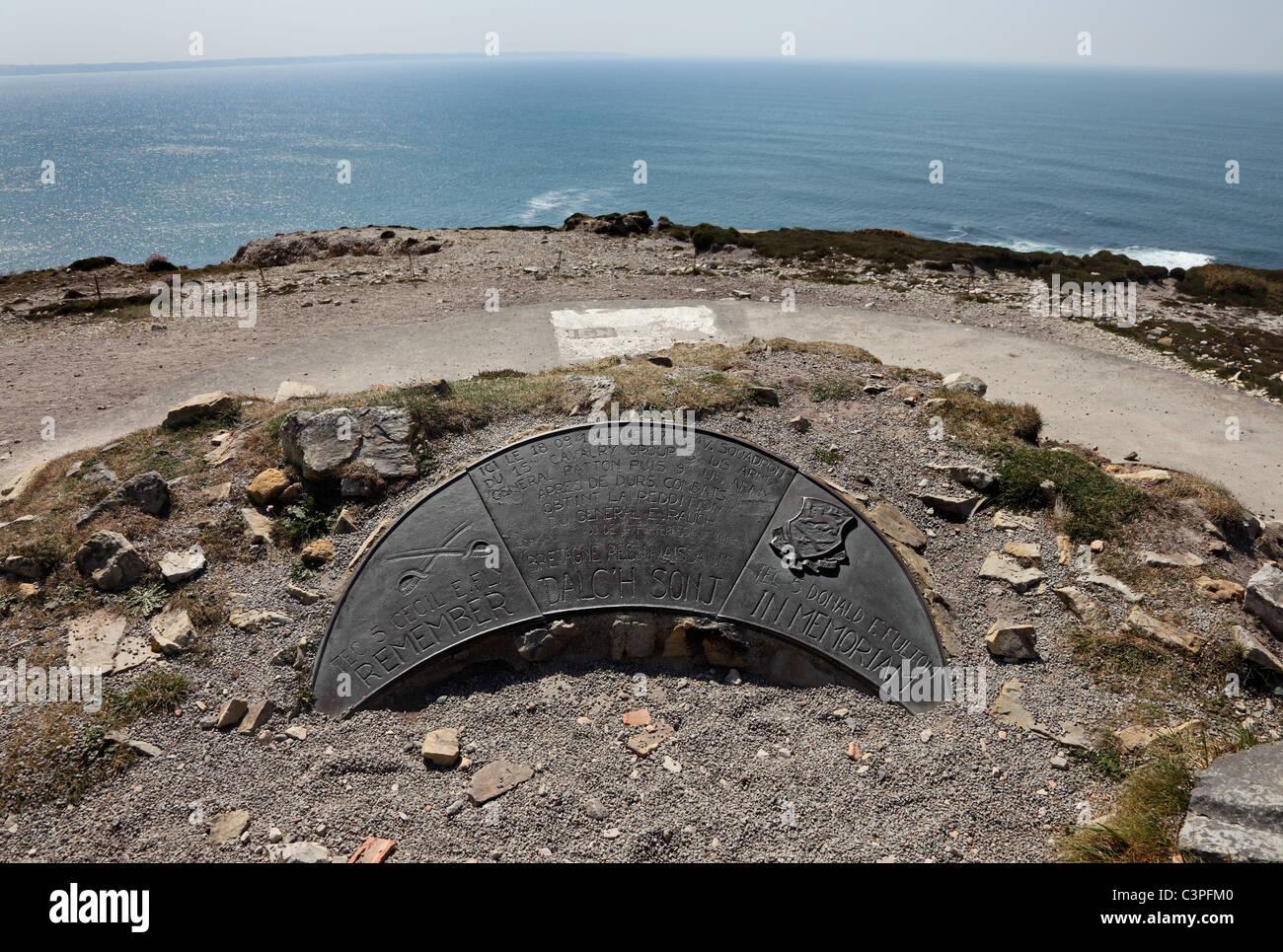 WW2 Memorial at the Cap de la Chevre Brittany France - Stock Image