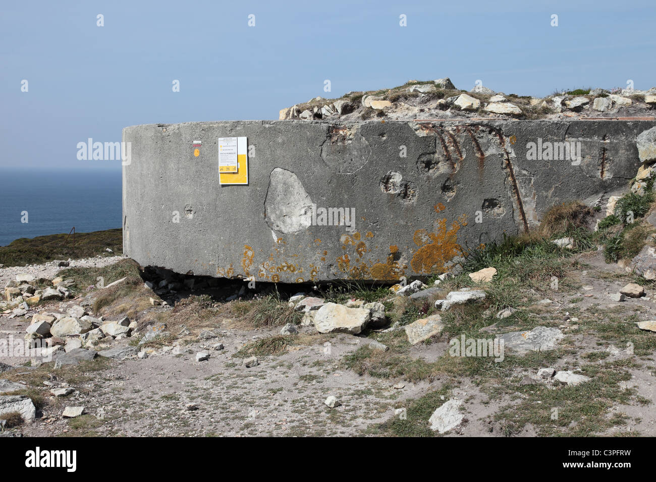 Remains of the Assault Damaged WW 2 Fortifications at Cap de la Chevre Brittany France - Stock Image