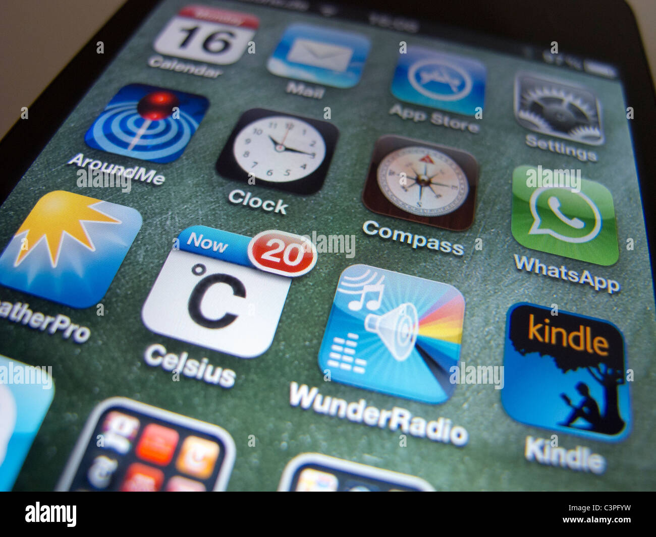 close-up of apps on an Apple iPhone 4G smart phone Stock