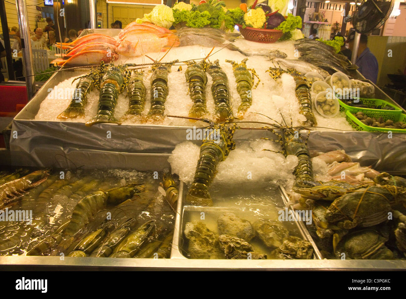 Fresh Lobsters, Crustaceans, and fish - Stock Image
