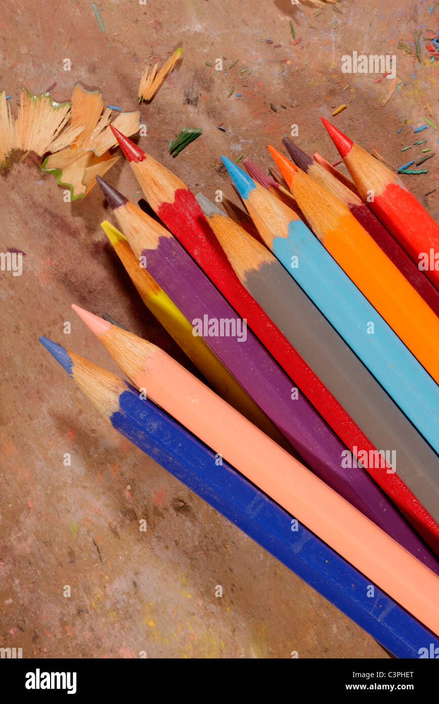Coloured pencils and pencil shavings - Stock Image