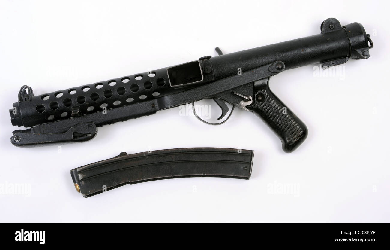 British Sterling sub machine gun with folding stock and