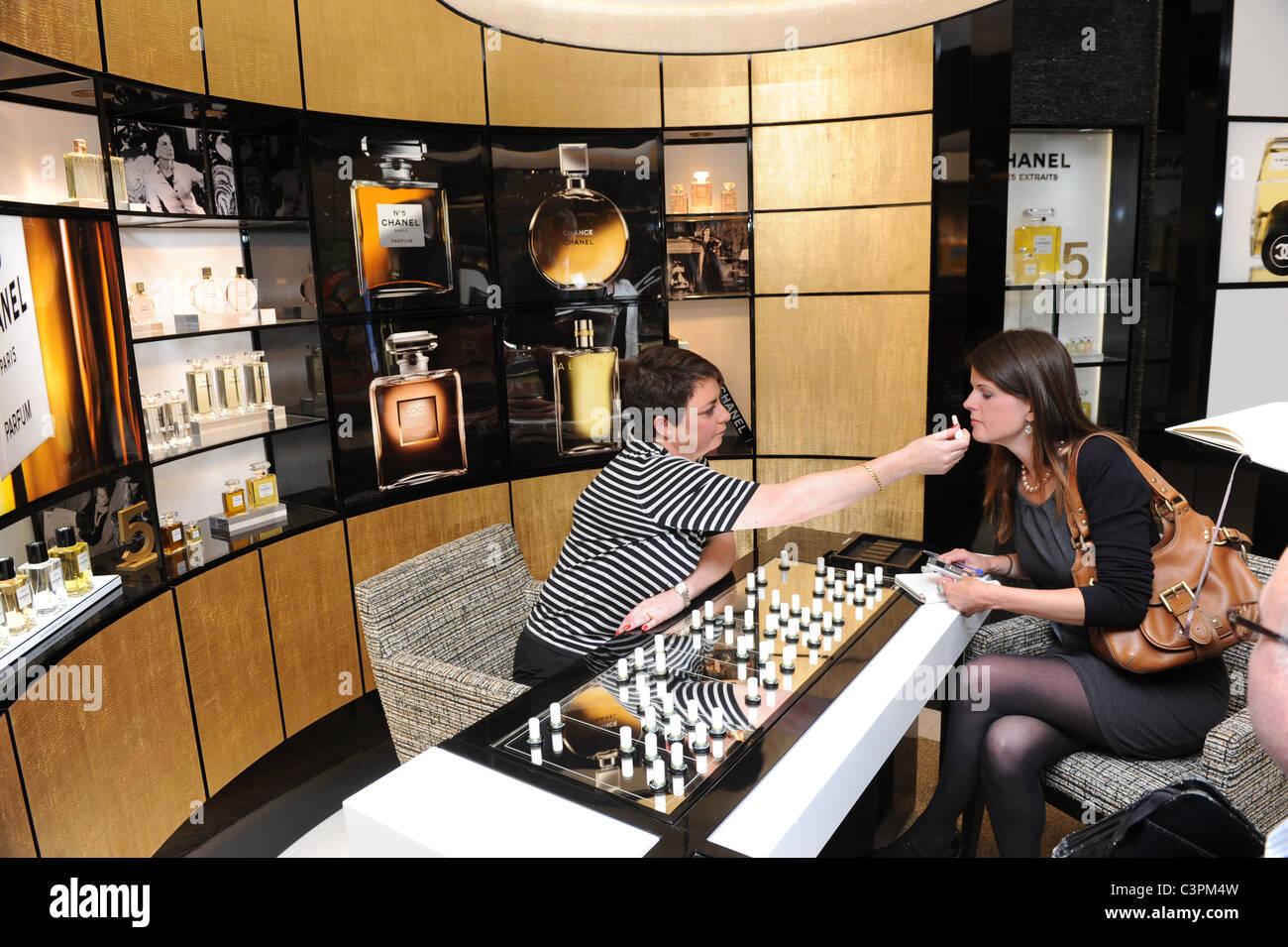 Chanel perfume testing at Birmingham Airport duty free shop England Uk - Stock Image
