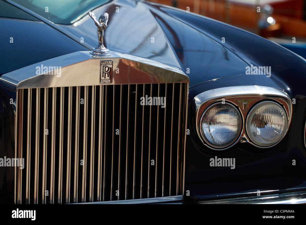 Detail view of a Rolls royce vintage car - Stock Image