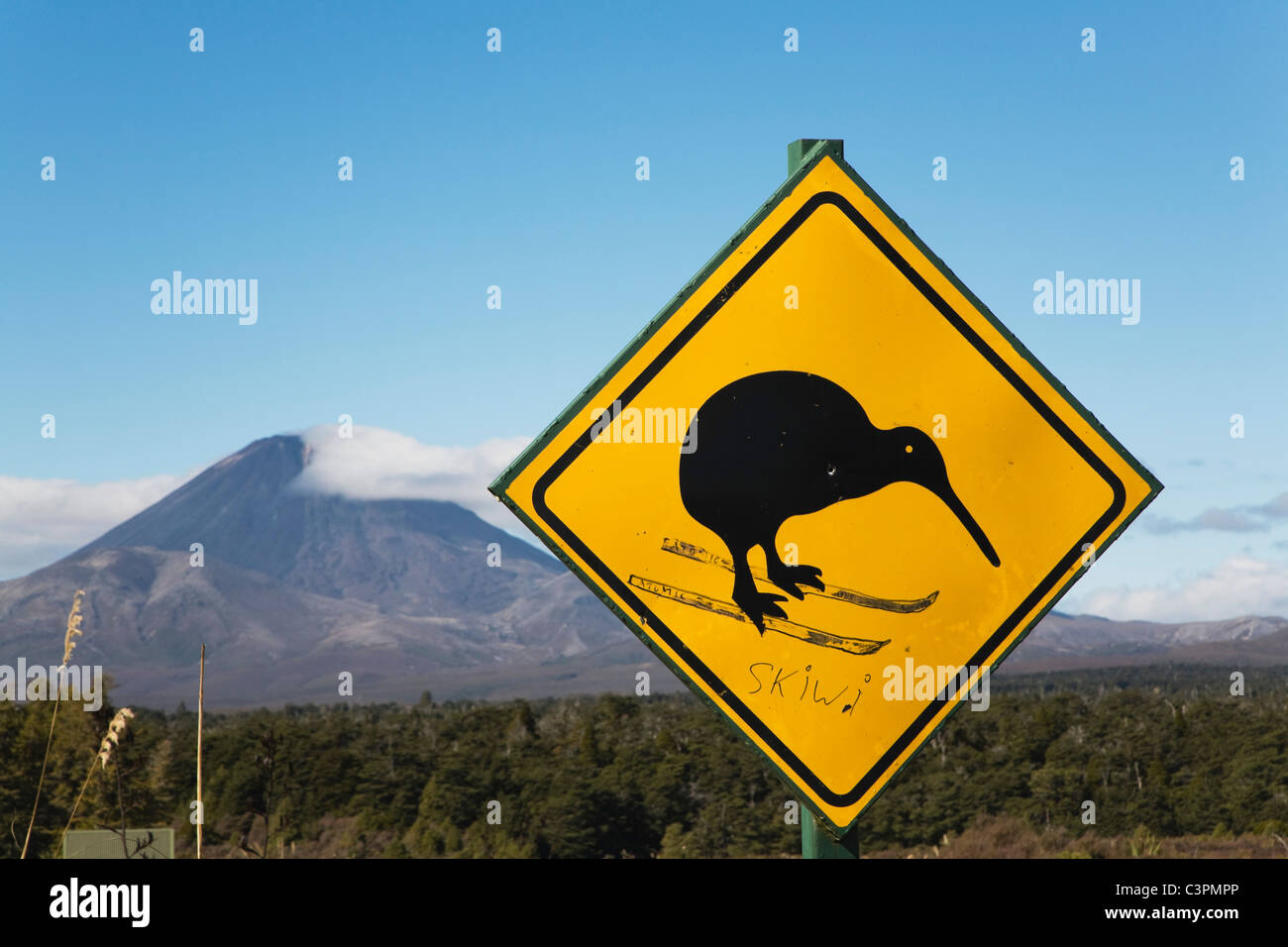 New Zealand, North Island, Animal crossing sign with mount ngauruhoe in background - Stock Image