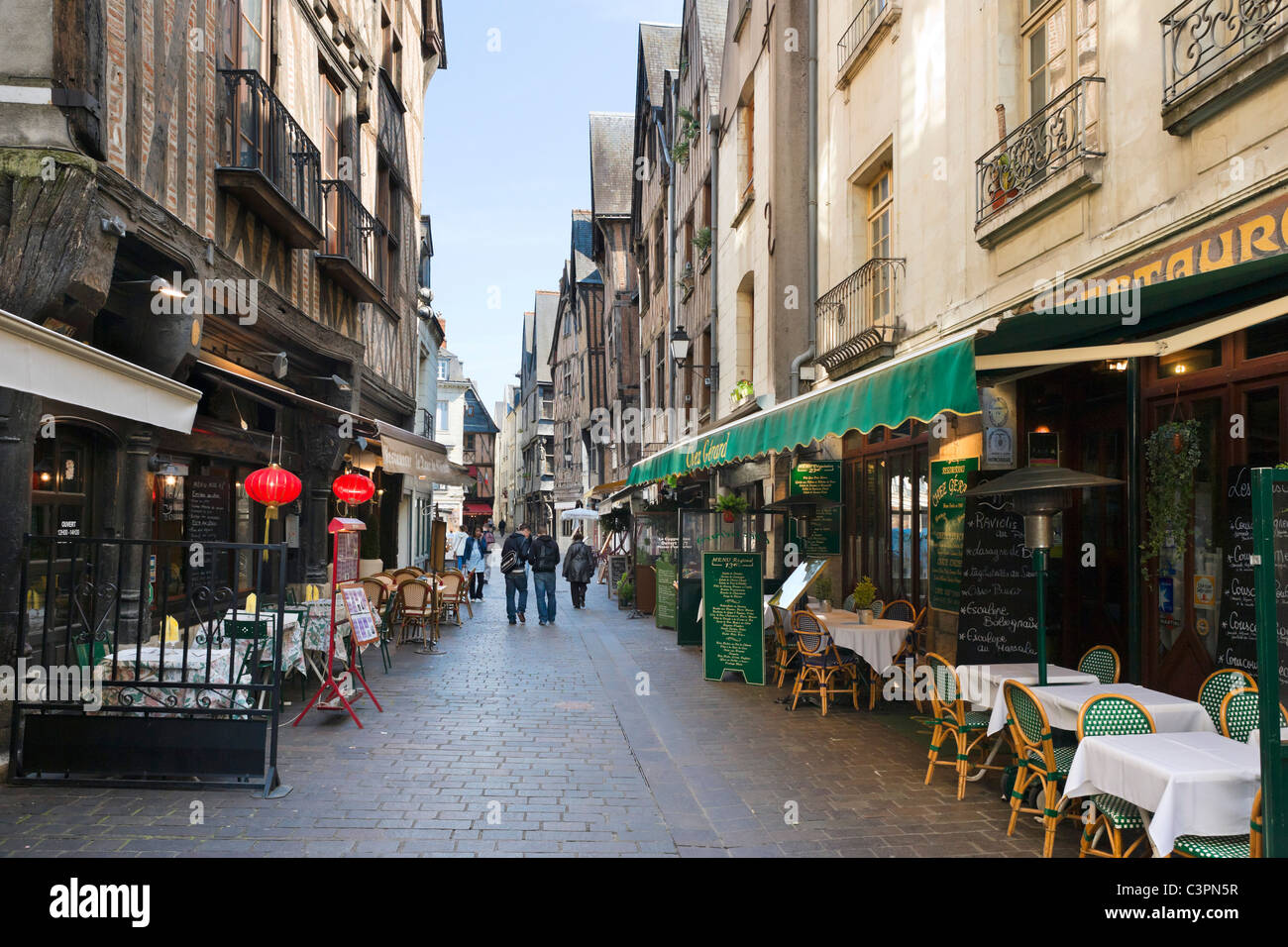Restaurants on Rue du Grand Marche near Place Plumereau in the old quarter of the city, Tours, Indre et Loire, France - Stock Image