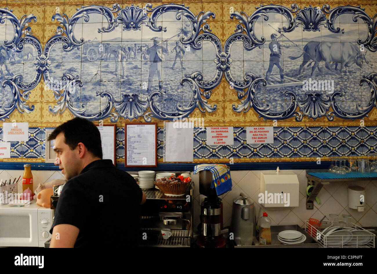 Old tiles (azulejos) in a cafe in lisbon. portugal. Europe. - Stock Image
