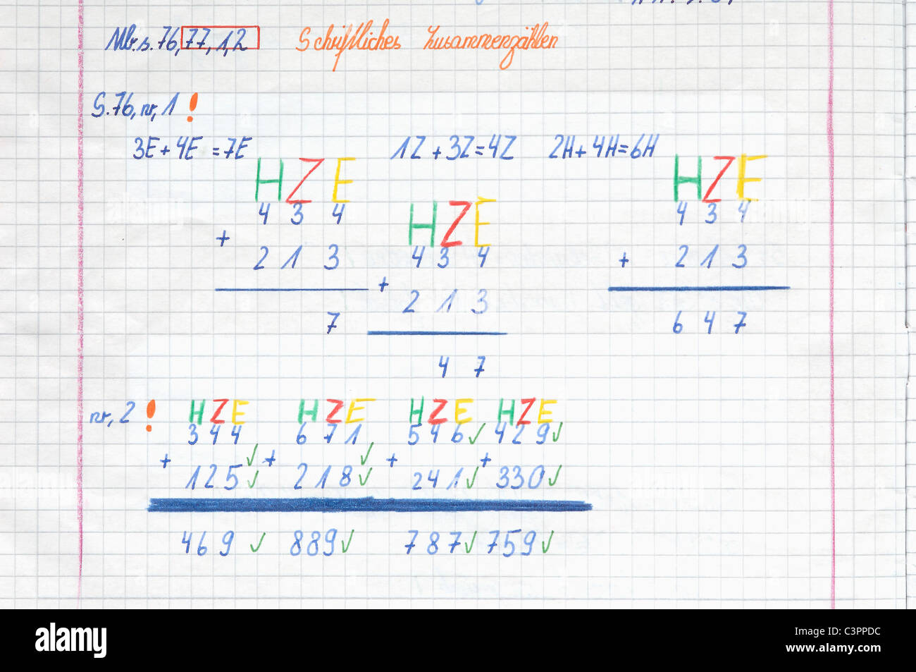 Germany, Munich, Exercise book with calculations, close up - Stock Image