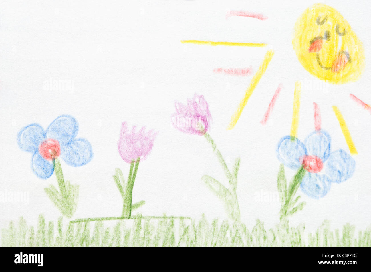 Germany, Munich, Child's drawing of nature in exercise book - Stock Image