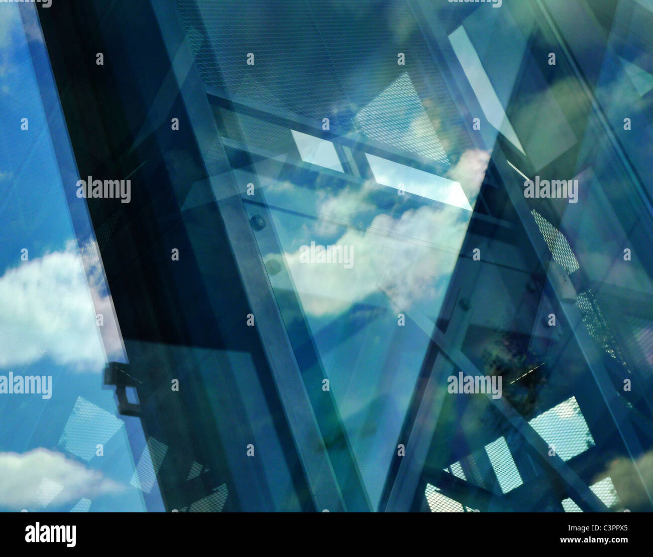 Abstract reflecting architectural composition. Stock Photo