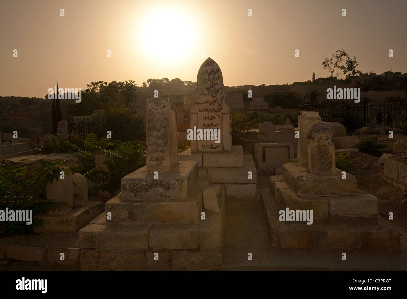 A cemetery near the Western Wall in the Old City of Jerusalem in Israel. Stock Photo