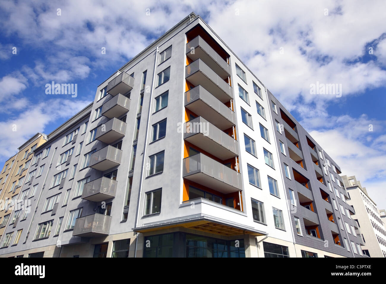 Apartment building in Sweden - Stock Image