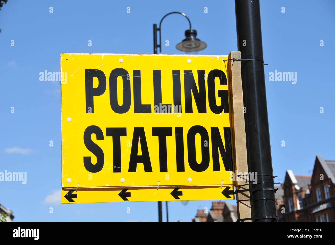 UK England Polling station election sign Council General elections - Stock Image