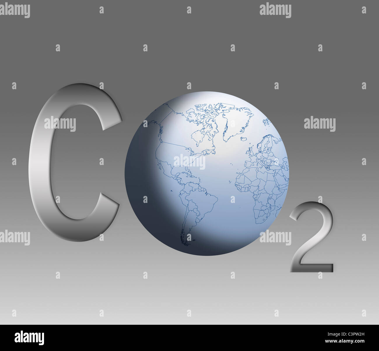 Symbol for carbon dioxide emissions with globe, close up - Stock Image
