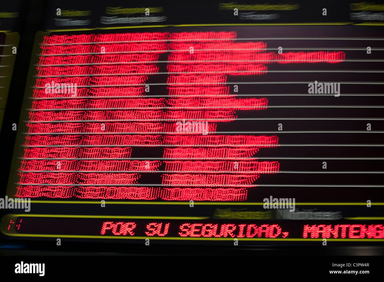 Travel information signal at Estacion Sur de Autobuses, Madrid, Spain. - Stock Image
