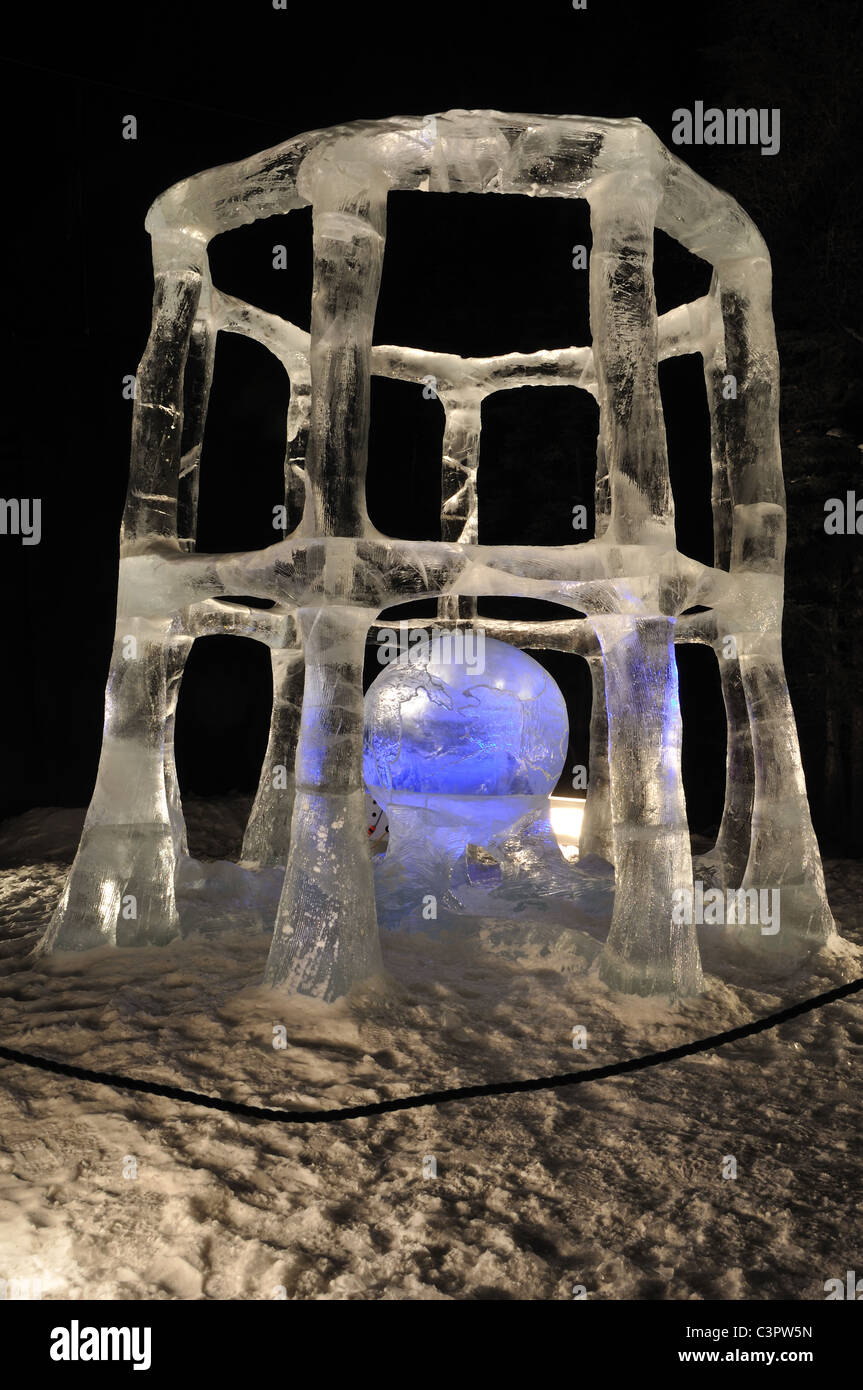 """FAIRBANKS, AK - MARCH 9: """"Tricky Business"""" Ice Sculpture, 2010 World Ice Art Championships March 9, 2010 in Fairbanks, Stock Photo"""