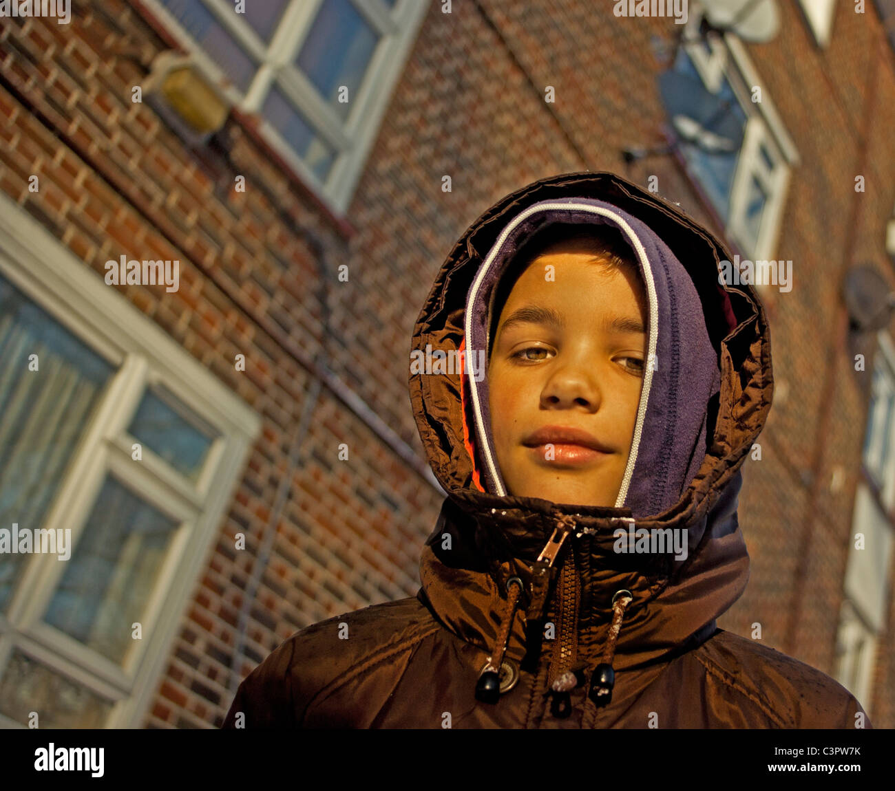Portrait of boy on a North London council estate. - Stock Image