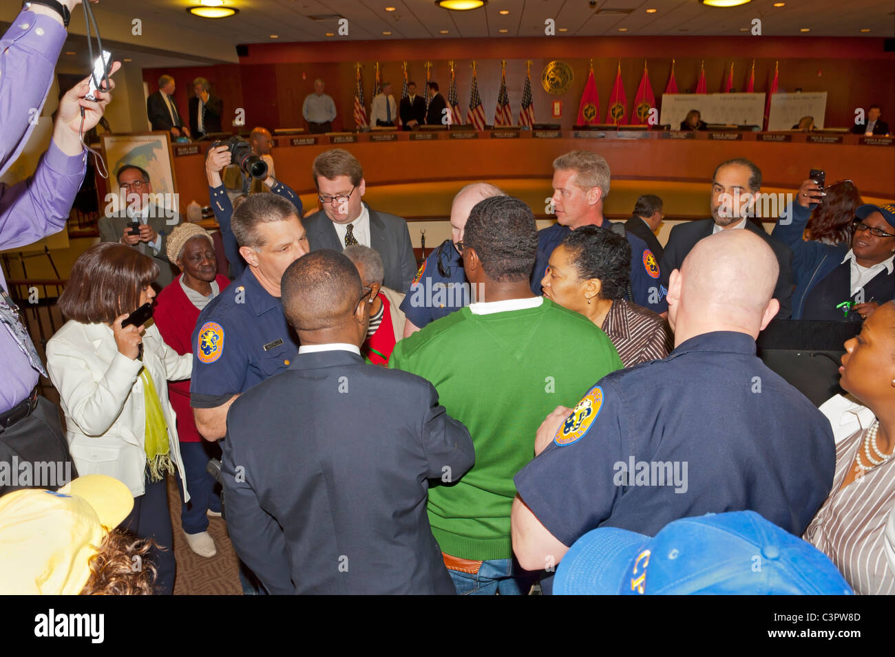 Nassau County Police Officers at disruption at Nassau County Legislative Redistricting Public Hearing, May 9, 2011, - Stock Image