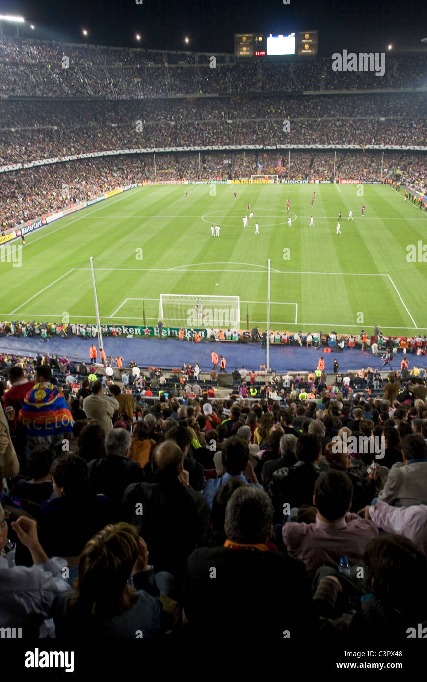 Camp Nou football stadium, home ground to Barcelona Football Club, during a Champions League game. (Spain) - Stock Image