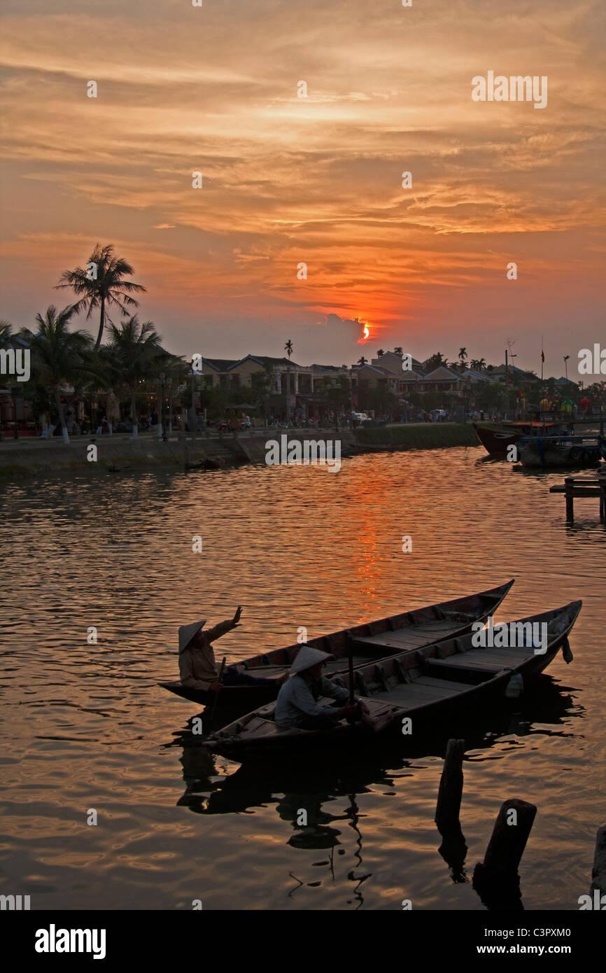 Sunset across the river, Hoi An, Vietnam - Stock Image