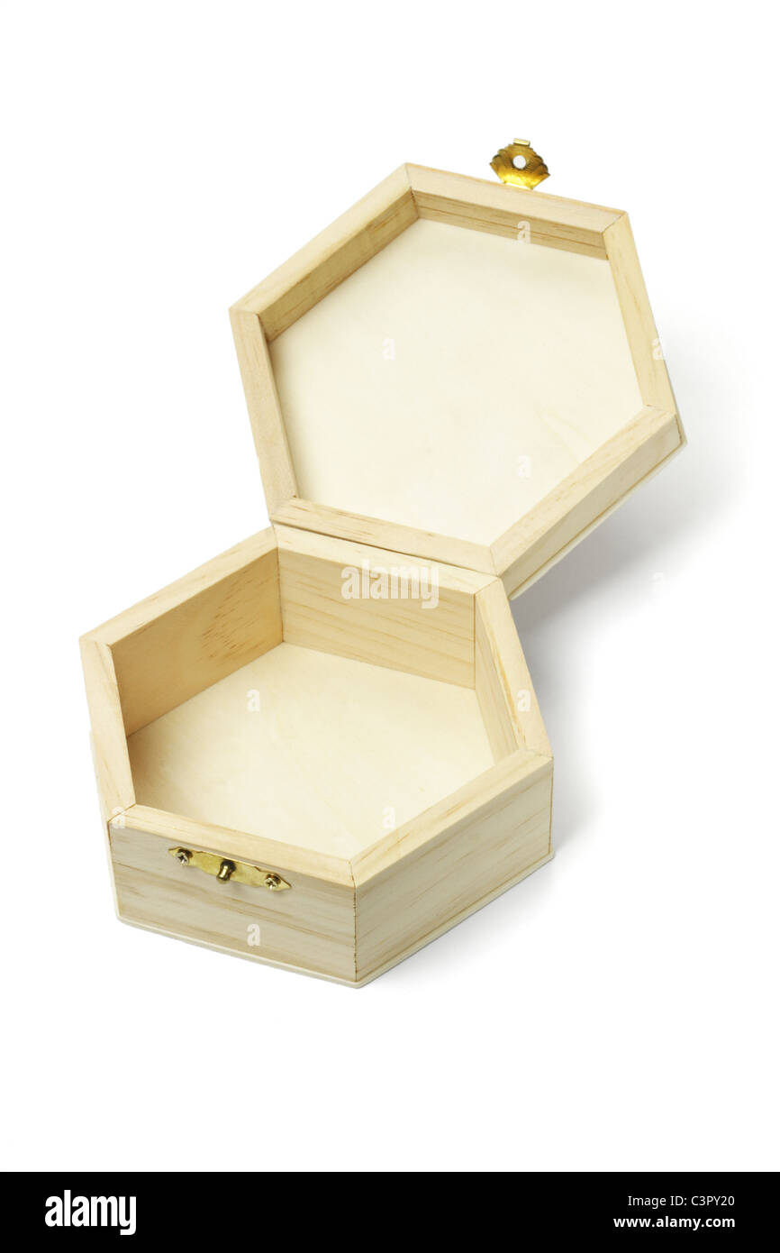 Open Empty Wooden Hexagonal Shape Storage Box On White Background