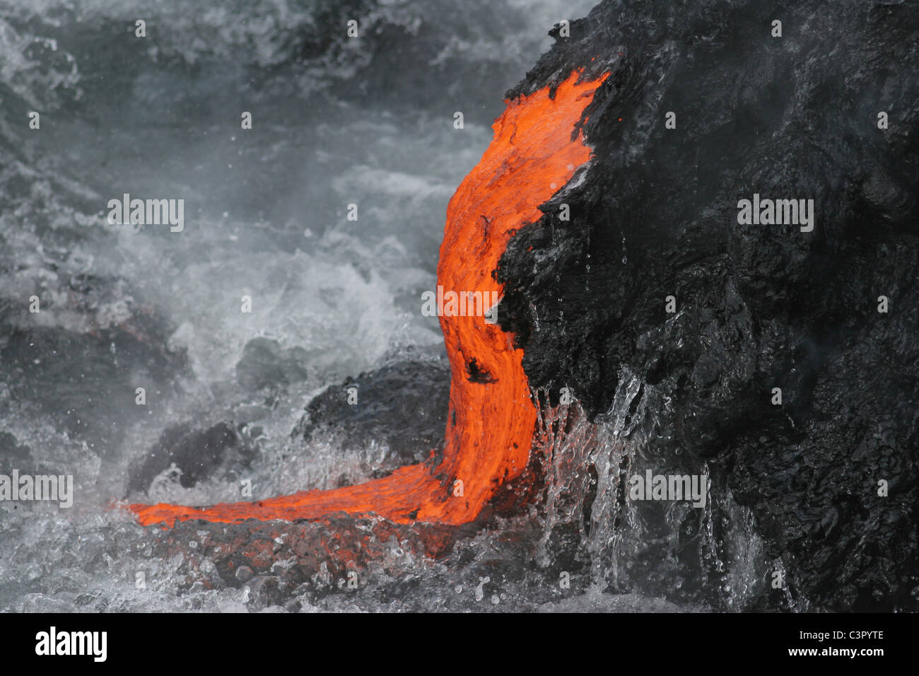 USA, Hawaii, Big Island, Lava entering sea - Stock Image
