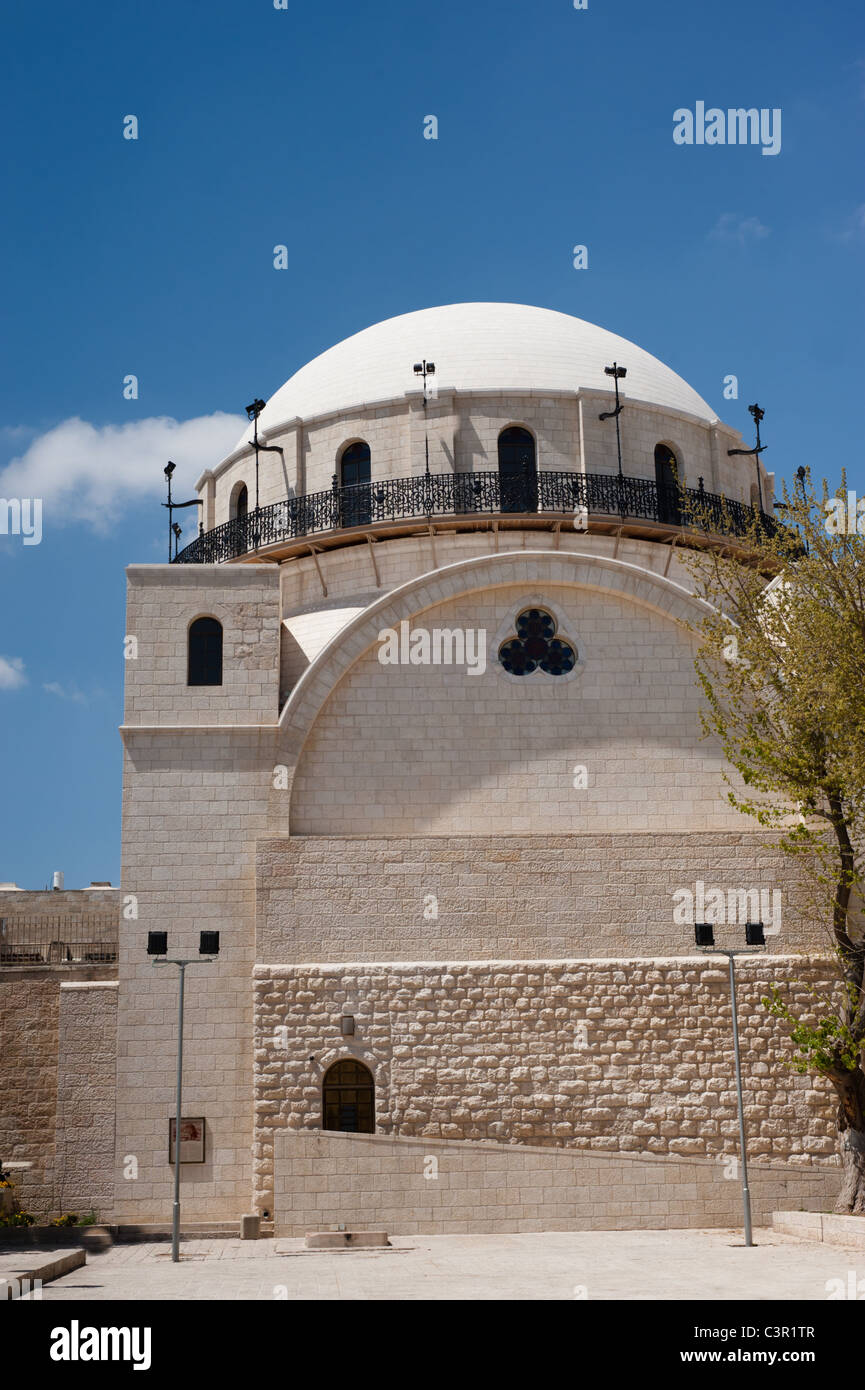 The dome of the Hurva Synagogue rises above the Jewish Quarter of the Old City of Jerusalem. - Stock Image