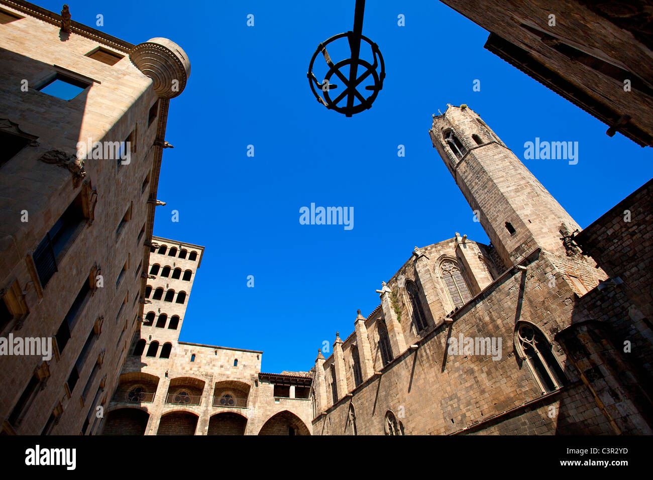 Spain, Catalonia, Barcelona, Barri Gotic district, Placa del rei - Stock Image