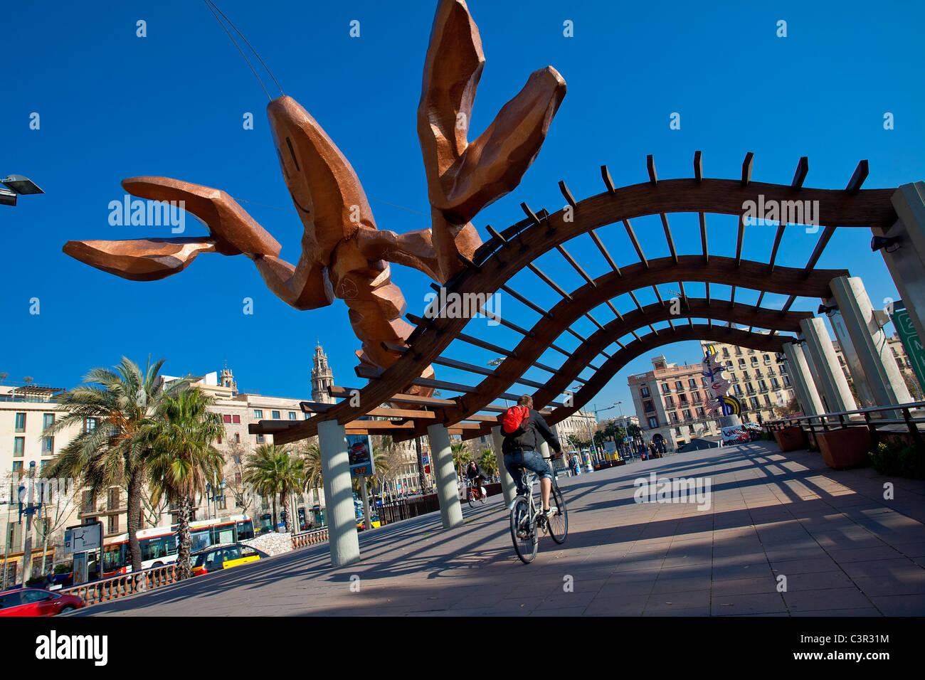 Spain, Catalonia, Barcelona, Moll de la Fusta area in the Port Vell (Old Harbour), Mariscal's La Gamba - Stock Image
