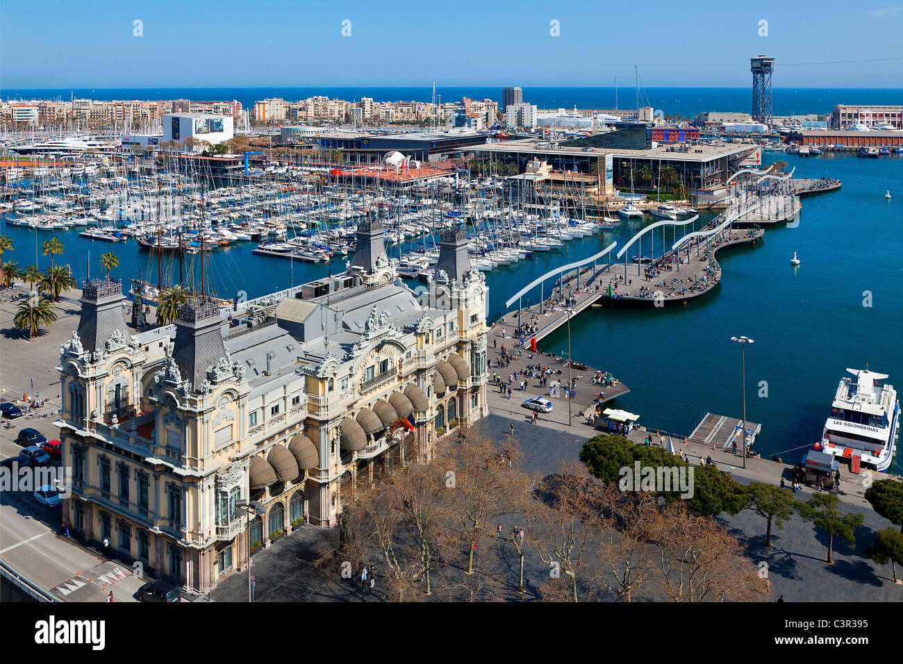 A view of Barcelona Harbor and Rambla del mar - Stock Image