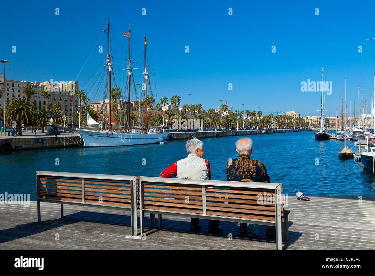 Barcelona, Rambla del Mar footbridge in Port Vell - Stock Image