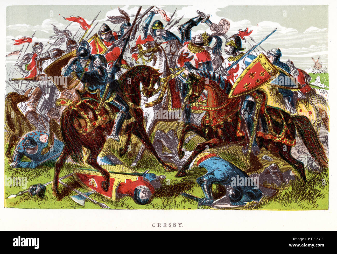 An English victory the Battle of Crécy was one of the most important battles of the Hundred Years' War. - Stock Image