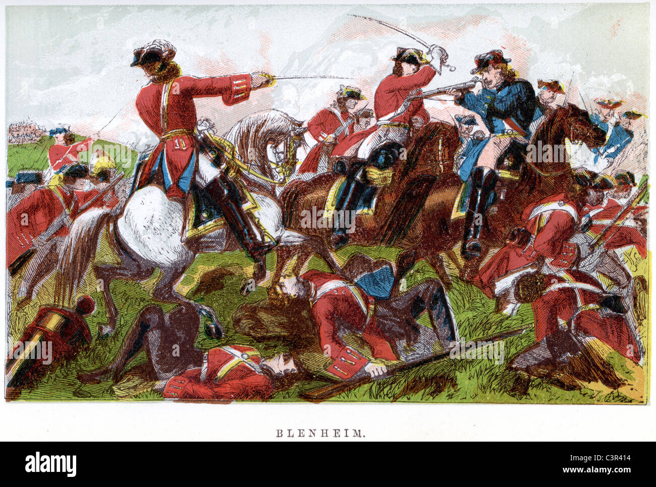 Battle of Blenheim, fought on 13 August 1704, was a major battle of the War of the Spanish Succession. Stock Photo