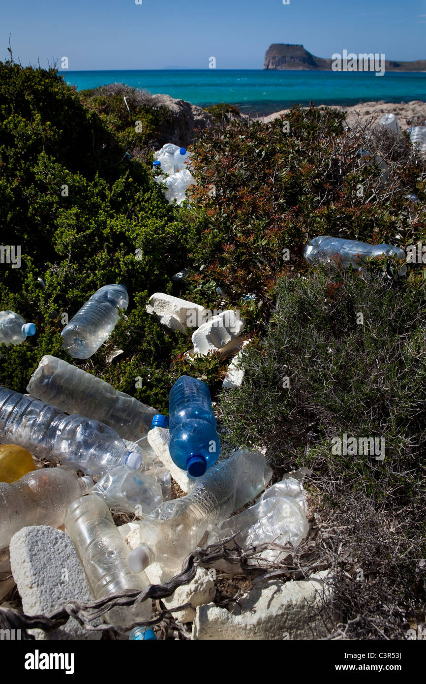 Plastic bottles, washed up on Balos Beach, on Gramvousa peninsula, in north western Crete, Greece. - Stock Image