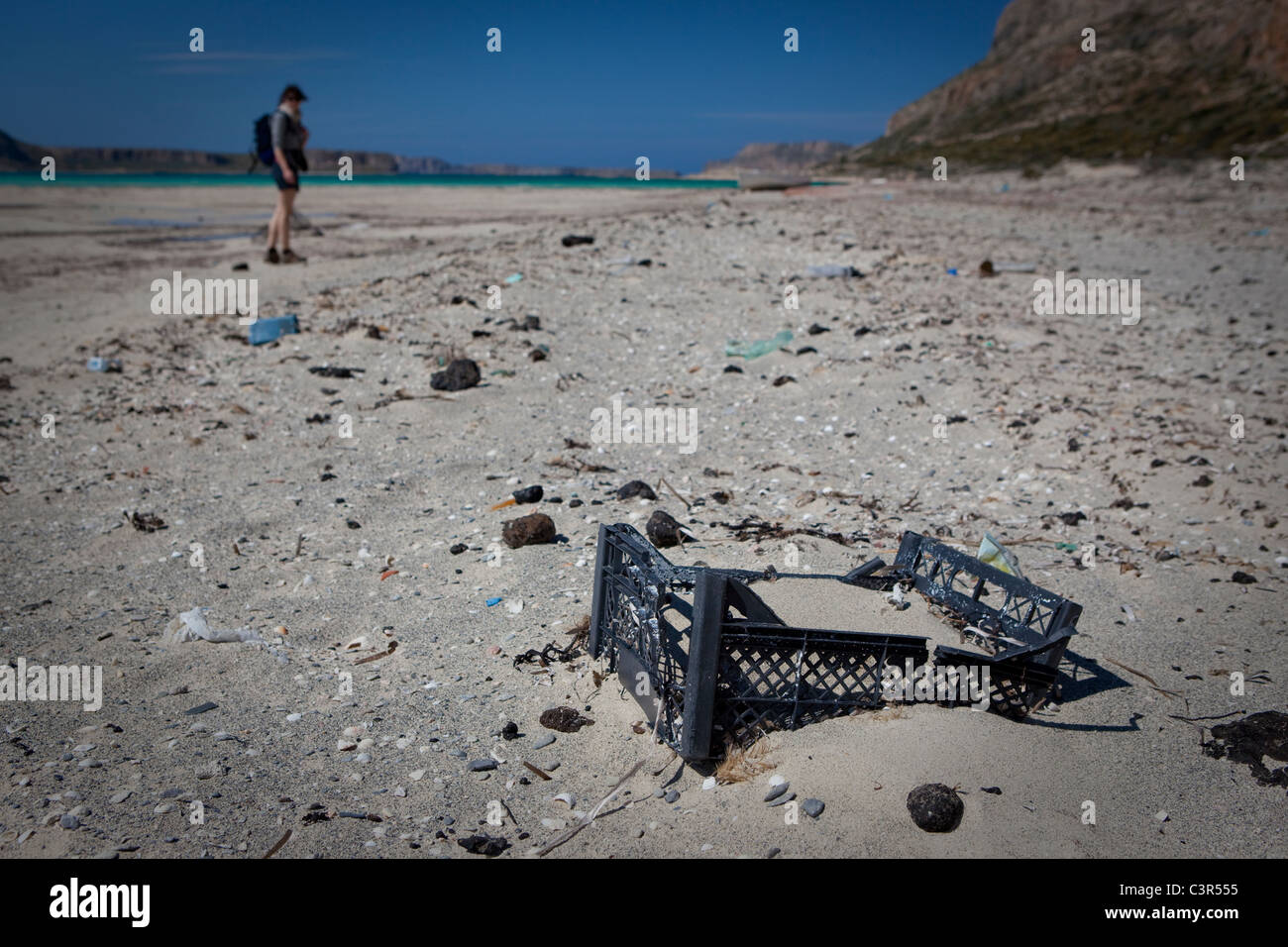 Plastic rubbish and oil tarball, Balos Beach, Crete, Greece. - Stock Image