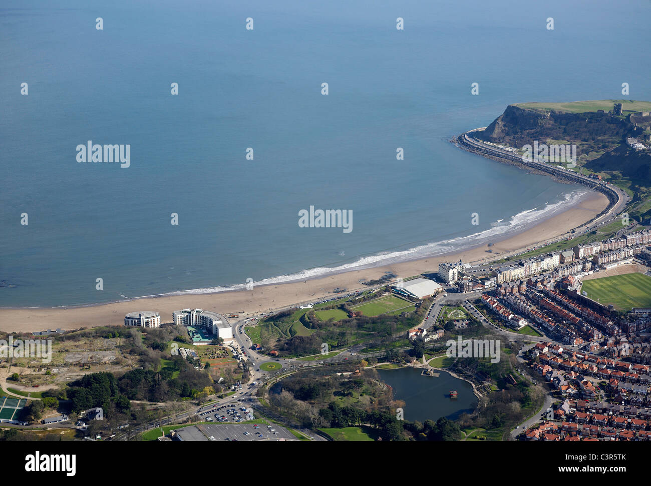 Scarborough North Bay from the Air, North Yorkshire, Northern England - Stock Image
