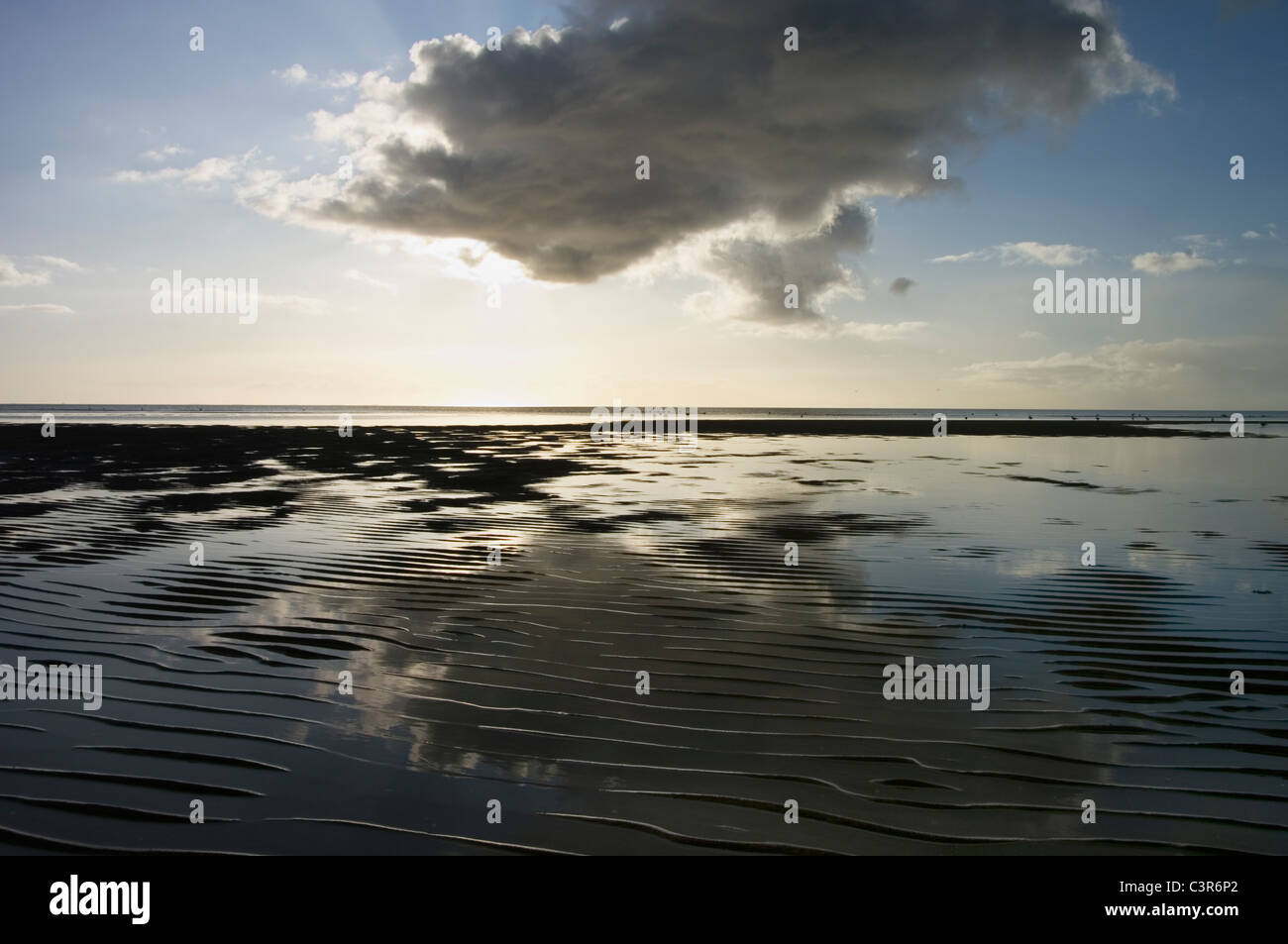 Germany, Schleswig-Holstein, Foehr, View of northern sea with mud flat at dusk - Stock Image