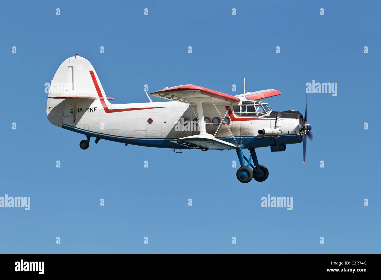 A veteran soviet/ Russian Antonov AN2 heavy duty bi-plane - Stock Image
