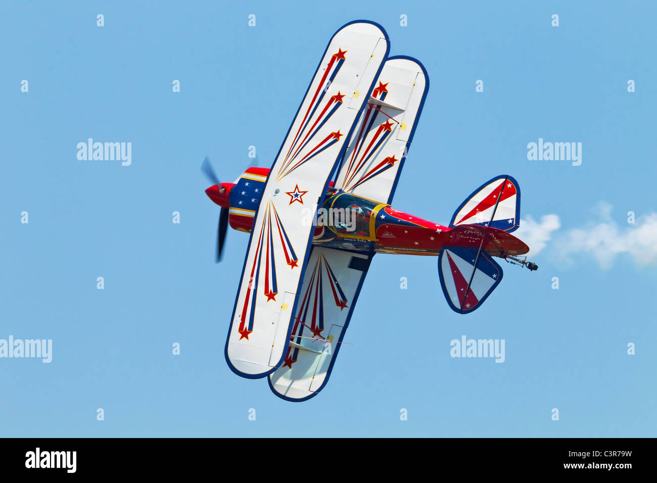 A Pitts S2a Aerobatic bi-plane during its display - Stock Image
