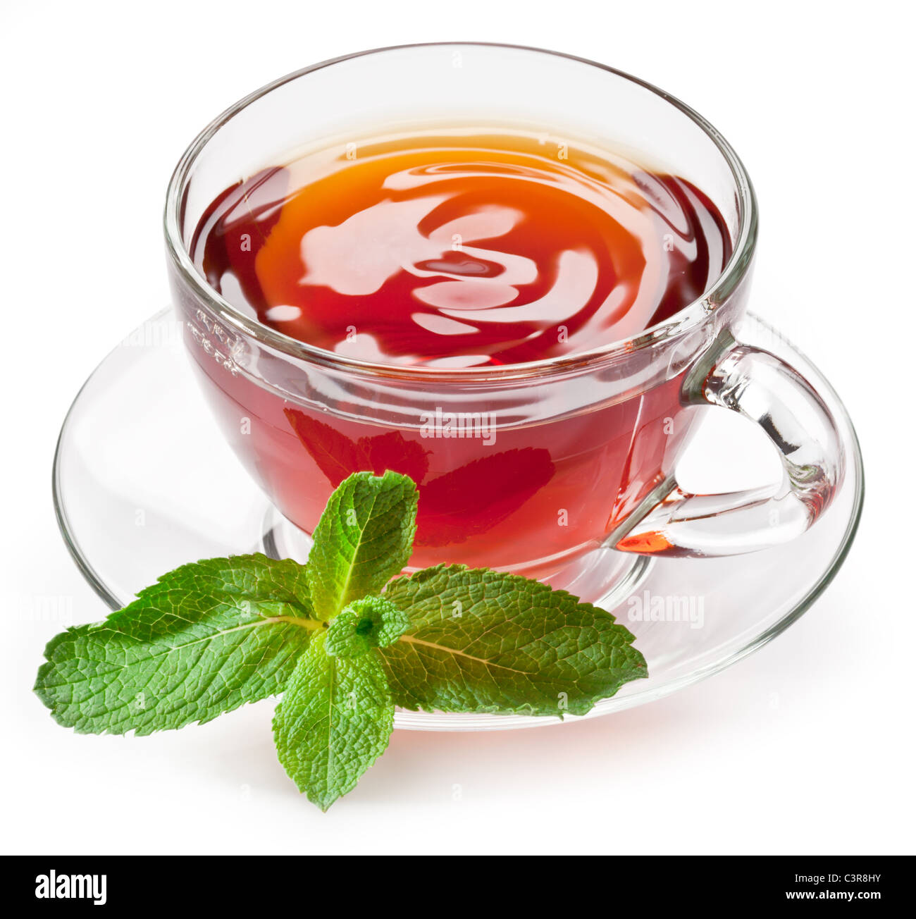 Cup tea with mint isolated on a white background. - Stock Image