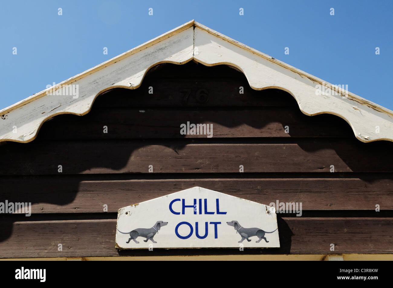 Chill Out Beach Hut detail, Southwold, Suffolk, England, UK - Stock Image