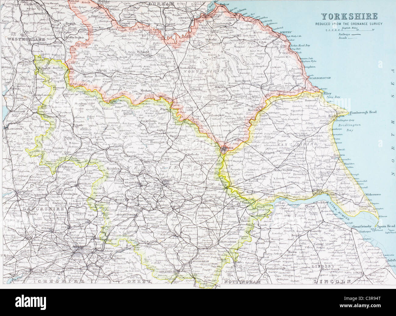 Map of Yorkshire, England in the late 19th century. - Stock Image